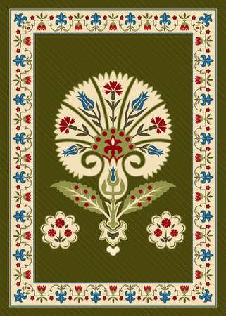Illustration with various whimsical flowers. Suzani tribal style. Floral rectangular border. Ilustração
