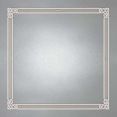 Square white framework on gray background. Celtic, Arabic style. Celtic knots, emboss.