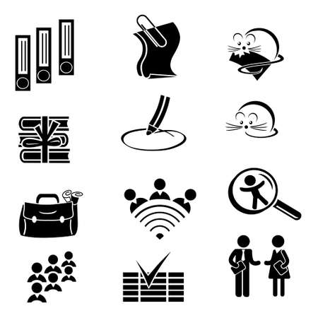Set of black icons. People, communication, on-line, mouse, paper, folder, pencil. Ilustração