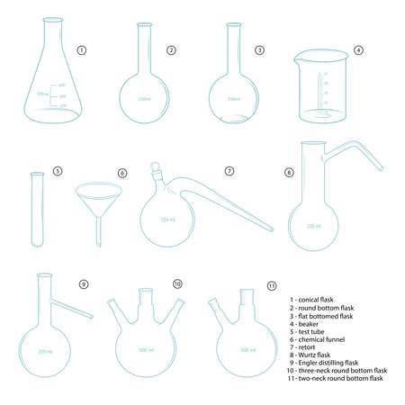 Set of chemical glassware. Sketches, blue color. Ilustração