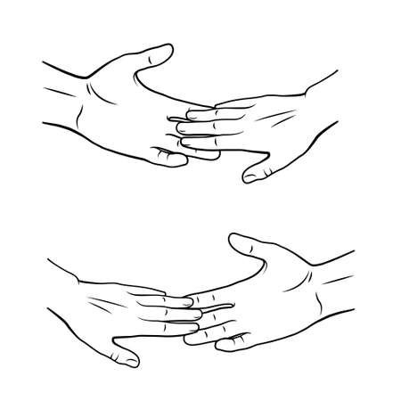 Black silhouettes of hands. Help and support concept.