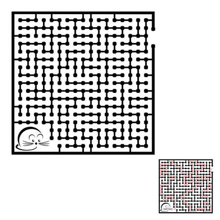 Maze game for kids and adults. Help the little mouse to get out of the maze. Solution included.