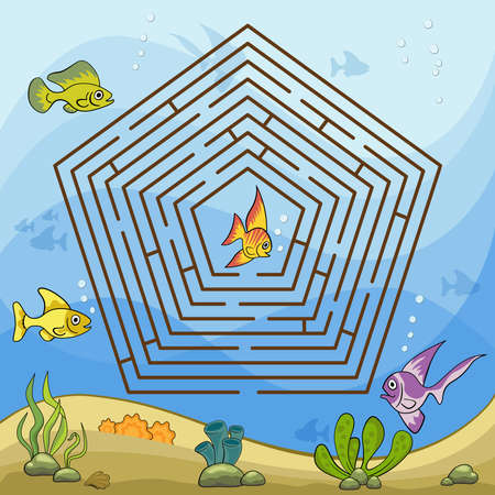Maze game for kids and adults. Help the little fish to get out of the maze. Ilustração