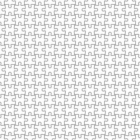 Jigsaw puzzle. Puzzle pieces black grid on separated white background. Seamless pattern. Swatches included.