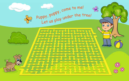Maze game for kids. Help the puppy to get to the boy.