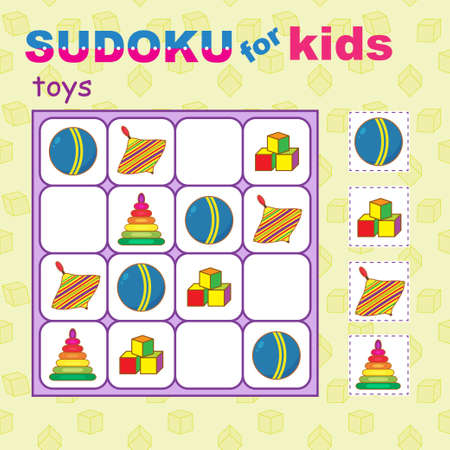 Sudoku for kids with various toys. Cubs, ball, pyramid and whirligig. Seamless pattern as a background.