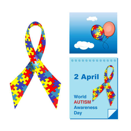 Symbols of World Autism Awareness Day, 2 April. Ribbons with puzzles, calendar sheet, air balloons.