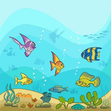 Cartoon sea illustration. Underwater ocean life, exotic fish, shells and water plants.