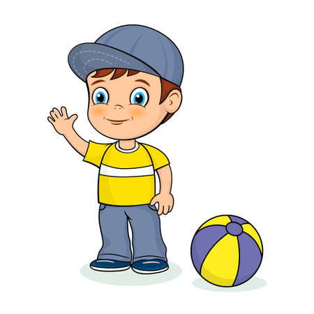 Cute cartoon boy and a ball. Smiling and waving kid.