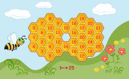 Maze game for kids developing counting skills. Help the bee to get to the flowers. Find way from 1 to 25.
