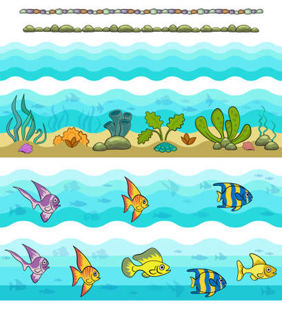 Seamless borders. Underwater ocean life, exotic fish, shells and water plants.