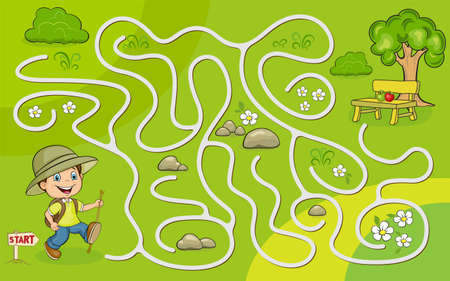 Maze game for kids. Help to the young tourist to get to the apples under the tree.