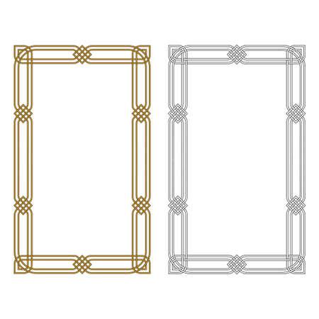 Two rectangular frameworks. Black and white, metallic colors. Arabic, Celtic style.
