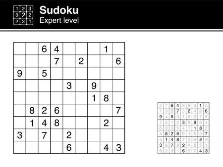 Sudoku. Expert level. Black and white, with solution. Sudoku icon. Vector Illustration