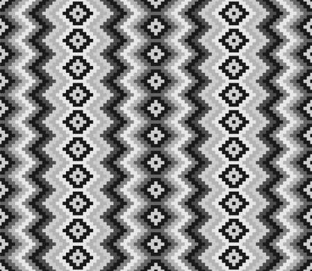 Ethnic geometric seamless pattern. American Indian style. Black and white colors. 矢量图片
