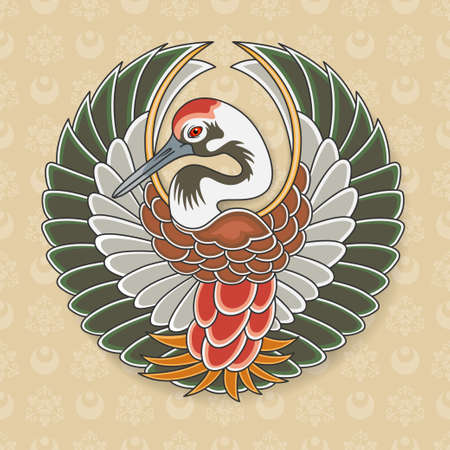 Symbol of Japanese stork Tanko. Seamless Japanese pattern as a background. Old traditional Japanese art. Swatch is included.