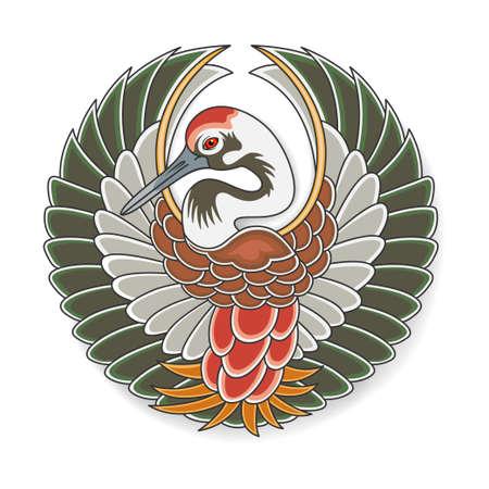 Symbol of Japanese stork Tanko. Old traditional Japanese art. Vector