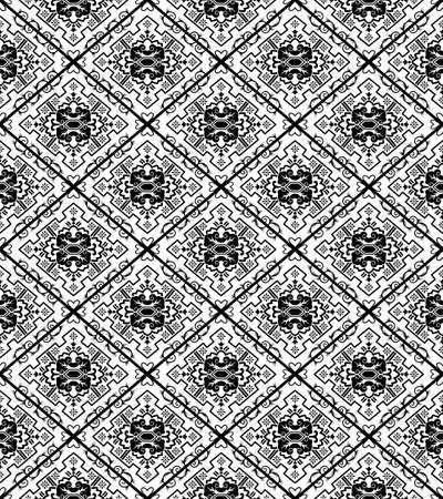 Ethnic seamless black pattern. Japanese style. Transparent background.