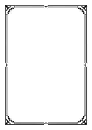 Black rectangular framework. Decoration for page, card or cover. A3, A4 proportions. Illustration