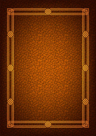 Ornate rectangular framework. Celtic, Arabic style. Imitation of brown leather for background. A3, A4 proportions.