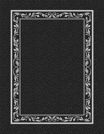 Ornate rectangular framework. Floral elements. Imitation of leather for background. Letter page proportions.