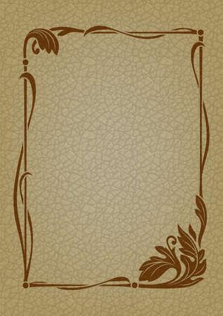 Ornate rectangular framework. Art Nouveau style. Imitation of leather for background. Banque d'images