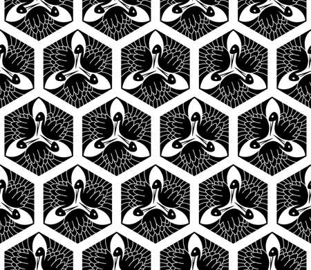Seamless Japanese pattern with a stork in hexagon. Old traditional Japanese art. Swatch is included.