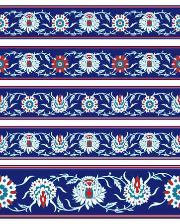 Set of seamless Persian floral borders, same color set. Classic style.