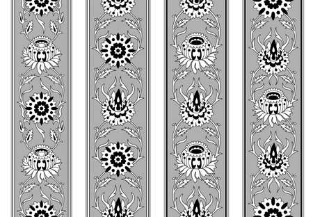 Set of seamless Persian floral borders. Vertical orientation. Black, gray and white. Illustration