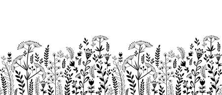 Seamless border with various plants, herbs and flowers. Doodle style. Only black.