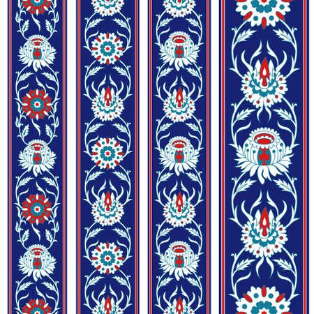 Set of seamless Persian floral borders, same color set. Vertical orientation.
