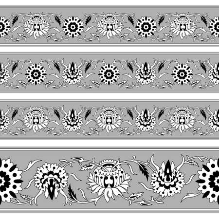 Set of seamless Persian floral borders, black and gray colors. Classic style. Illustration