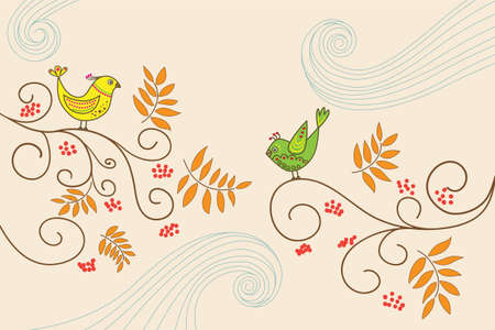 Doodle vector illustration with birds on Rowan trees. Whirlwinds, red berries and leaves. Clipping mask is used. Illustration