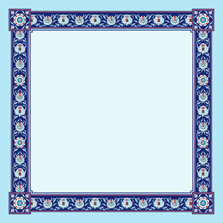 Square framework. Persian floral style.