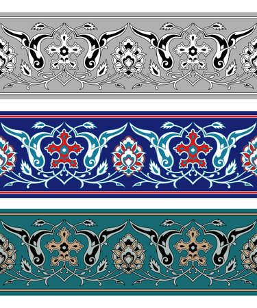 Seamless Persian floral borders, various color sets. Classic style.