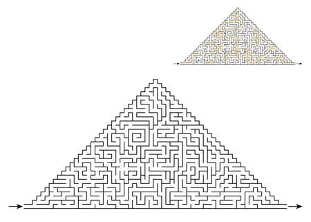 Maze game for kids and adults. Find the right path through the pyramid. Solution included.