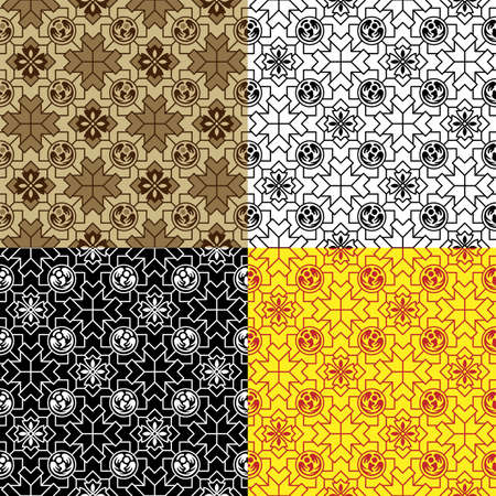 Set of seamless patterns with tiles. Swatches included. Various colors. Classic Japanese style.