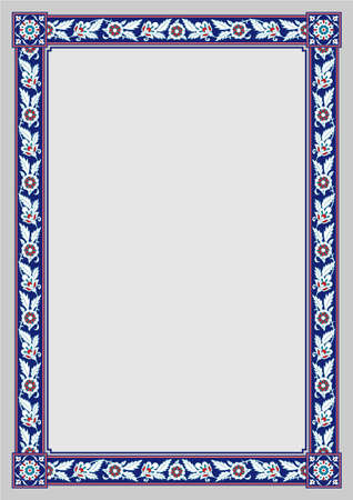 Rectangular framework. Persian floral style. A3, A4 page sizes. Illustration