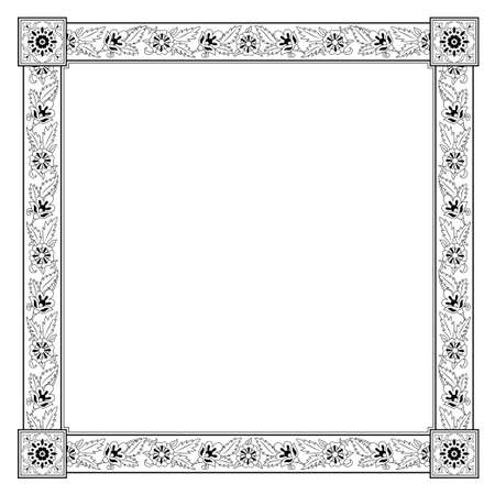 Square black and white floral framework. Persian style.