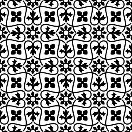 Seamless black floral pattern. Ancient Persian style. Arabesques, tiles.
