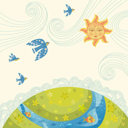 Nature care awareness concept. Vector eco illustration for social poster, banner or card on the theme of saving the environment. ECO background. Landscape, the Sun, decorative birds, plants and fish.