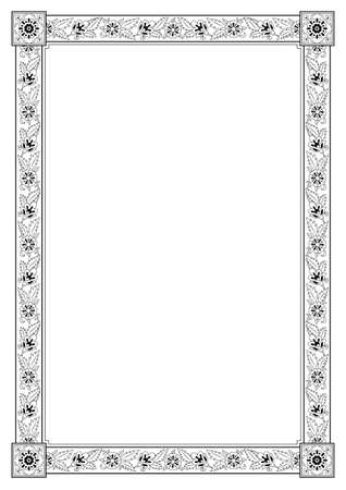 Rectangular framework. Persian floral style. A3, A4 page sizes. Black and white colors. Illustration