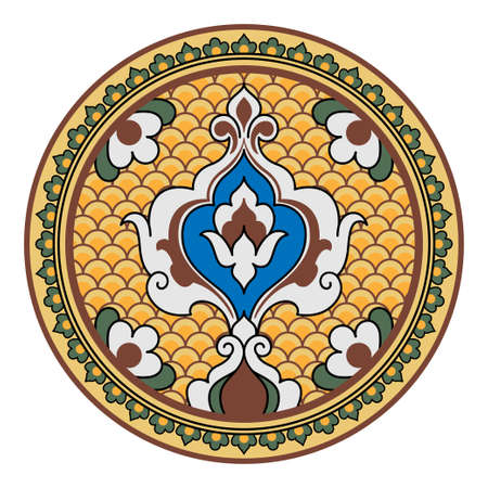 Decorative round floral pattern. Ancient Persian style. Plate, arabesques.