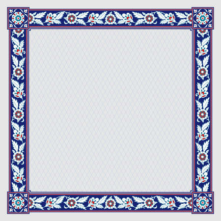 Square floral framework. Persian style.