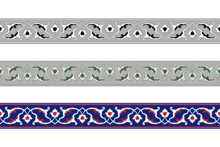 Seamless floral borders, various color sets. Classic Persian style. Pattern brushes included.