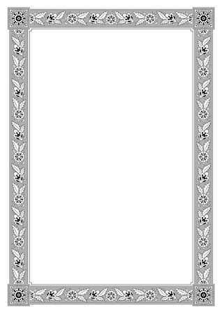 Rectangular framework. Persian floral style. A3, A4 page sizes. Black, gray and white colors. Illustration