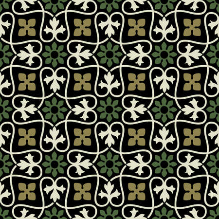 Seamless floral pattern. Ancient Persian style. Arabesques, tiles. Illustration