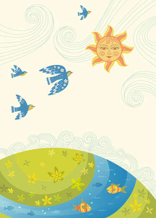 Nature care awareness concept. Vector eco illustration for banner or card on the theme of saving the environment. Landscape, the Sun, decorative birds and fish. Clipping mask applied. Illustration