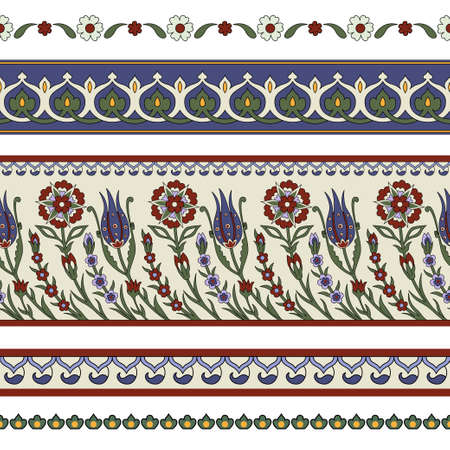 Seamless floral borders. Classic Persian style. Pattern brushes included. Illustration