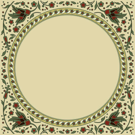 Decorative round floral framework. Ancient Persian style. Floral corners. Illustration